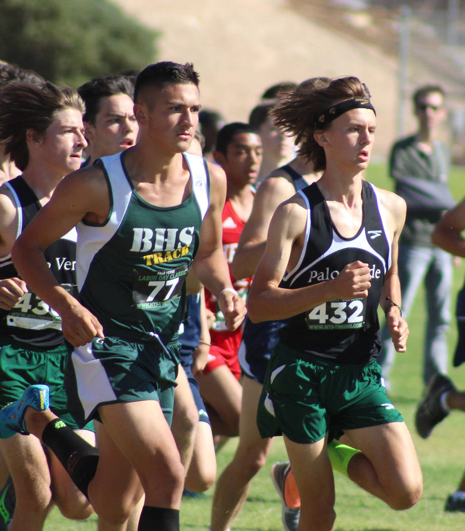Tom Rysinski/Pahrump Valley Times Beatty High School junior Jose Granados is one of 164 runners to break from the starting line at the Junior/Senior race at the Labor Day Classic on Sept. 1 at Pal ...