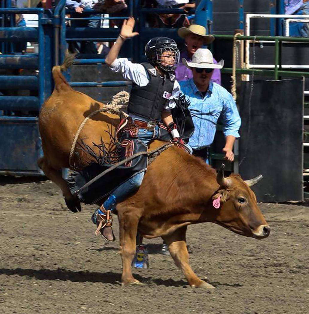 Buddy Krebs/Special to the Pahrump Valley Times Pahrump sixth-grader Brandon Mountz finished second in bull riding at a rodeo in Elko and is currently in third place in the state among junior high ...