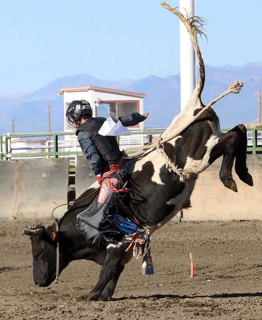 Buddy Krebs/Special to the Pahrump Valley Times Pahrump senior Tye Hardy, who qualified for nationals a year ago, leads Nevada high school bull riders after he won the event at a Sept. 8 rodeo in ...