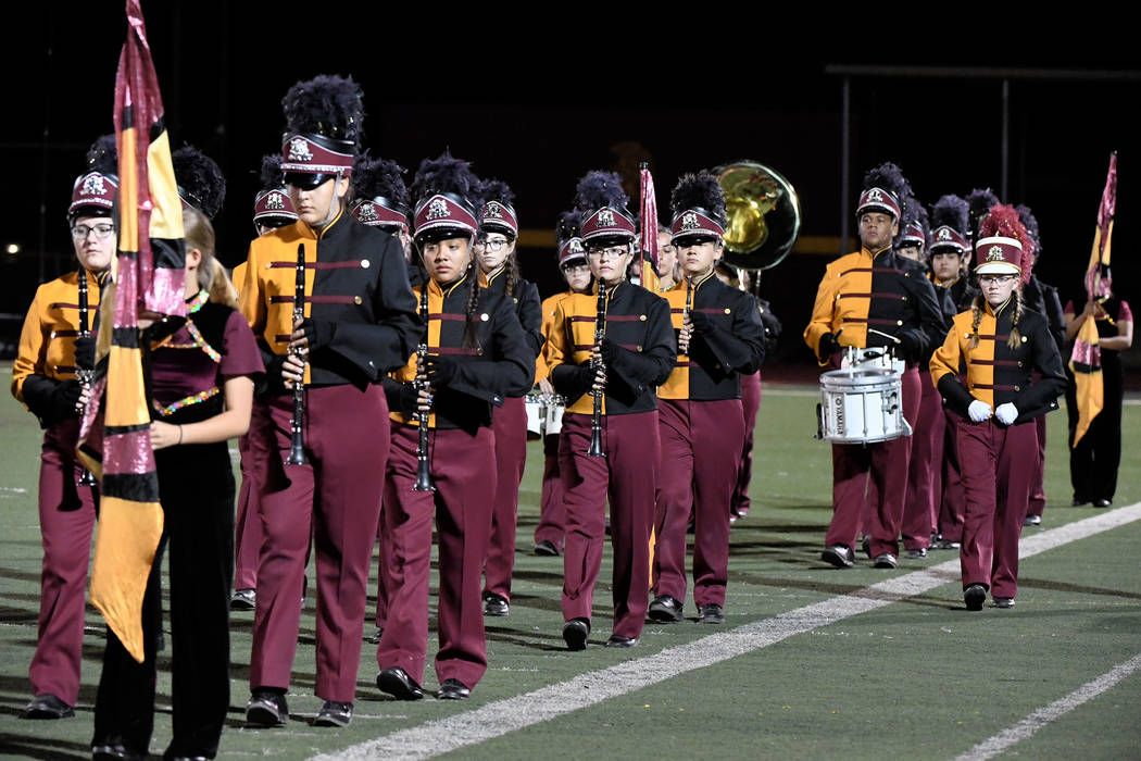 Peter Davis/Special to the Pahrump Valley Times file The Pahrump Valley High School Maroon Legion Marching Band took the field at halftime of the homecoming game against Sunrise Mountain in August.