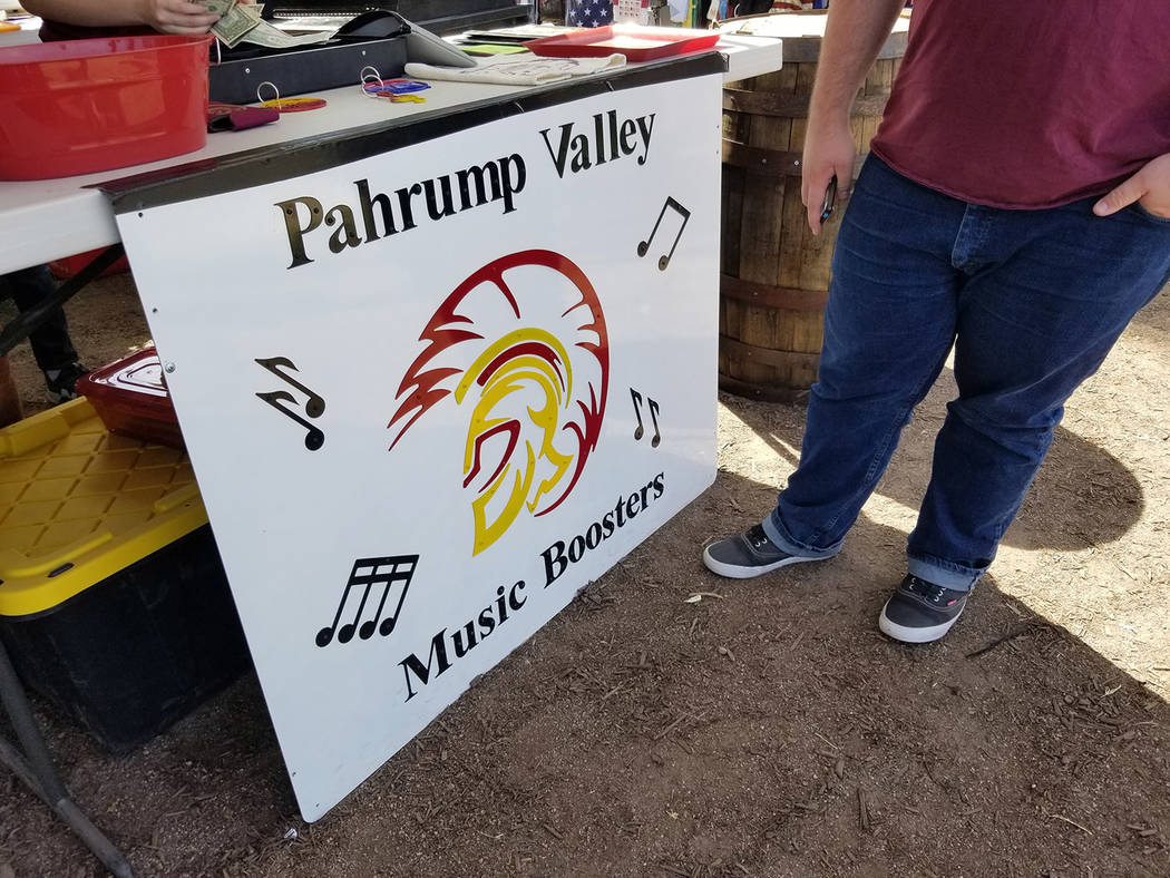 David Jacobs/Pahrump Valley Times The Pahrump Valley High School Booster Club's booth is shown at the Pahrump Fall Festival, which concluded on Sunday. Funds are being raised to send the band to H ...