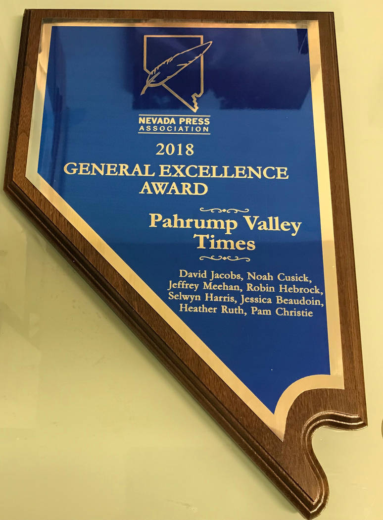 Jeffrey Meehan/Pahrump Valley Times The Pahrump Valley Times won general excellence in the intermediate category at the 2018 annual Nevada Press Association's Better Newspaper Contest banquet in ...