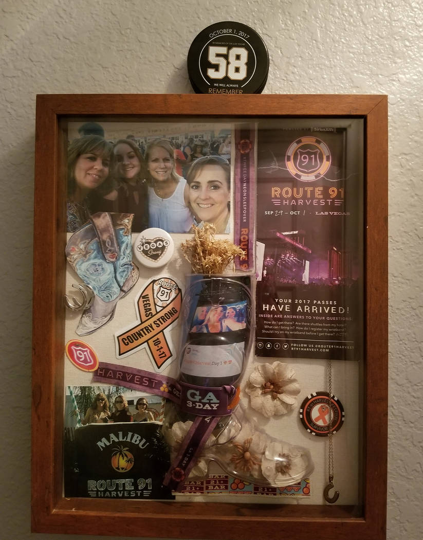 Special to the Pahrump Valley Times Denise Koch assembled a shrine in her home comprised of Route 91 concert tickets, photographs and additional items of remembrances from the event. Koch, along w ...