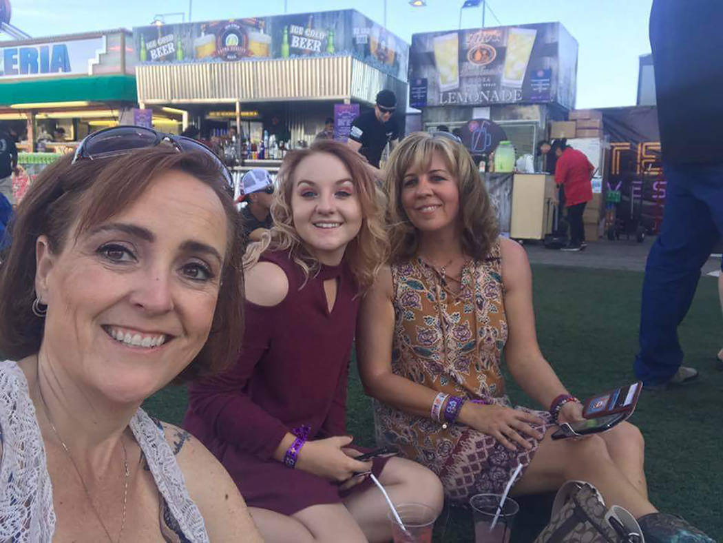 Special to the Pahrump Valley Times Denise Koch, far right, poses with her daughter Breana, center, and friend Cheryl Davis just prior to the start of the Route 91 concert. As a result of last yea ...