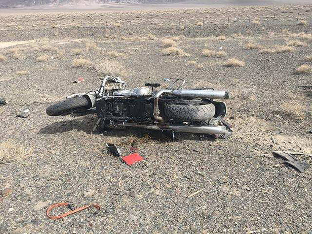 Nevada Highway Patrol A look at the crash scene Sept. 29 in Esmeralda County.