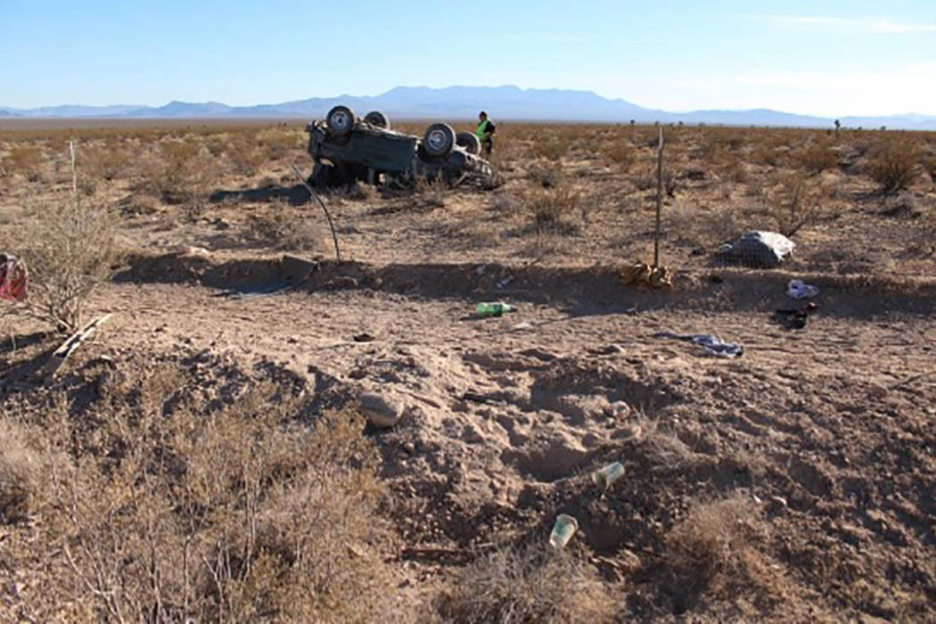 A blown tire led to a Wednesday rollover crash near Pahrump that left one man dead and another critically injured. (Nevada Highway Patrol)