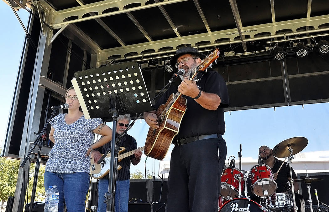 Horace Langford Jr./Pahrump Valley Times Nye County Commissioner and musician Dan Schinhofen and his band entertains on stage at the 2018 Pahrump Fall Festival.
