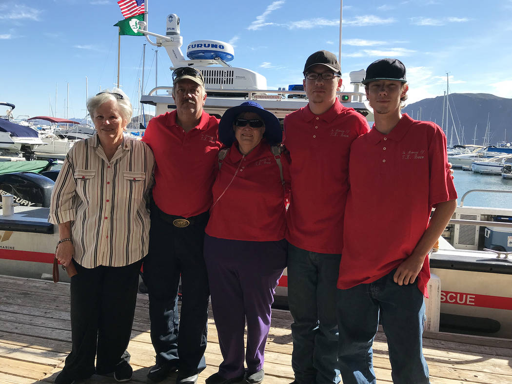 Hali Bernstein Saylor/Boulder City Review Members of Thomas K. Brown's family, from left, daughter Barbara Nash, grandson Thomas Allison, daughter Bonnie Jean Allison, and great-grandsons Robert A ...