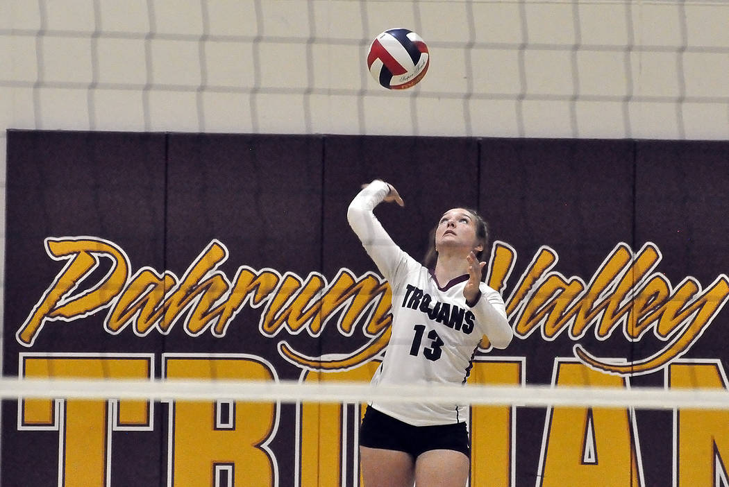 Horace Langford Jr./Pahrump Valley Times Senior Jackie Stobbe tallied 12 assists Monday as Pahrump Valley swept Western in a Class 3A Sunset League match.