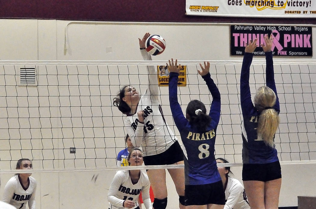 Horace Langford Jr./Pahrump Valley Times Sophomore Kate Daffer goes up for a kill during a Sept. 20 match against Moapa Valley. Daffer led Pahrump Valley with nine kills in a 3-0 sweep Monday at W ...