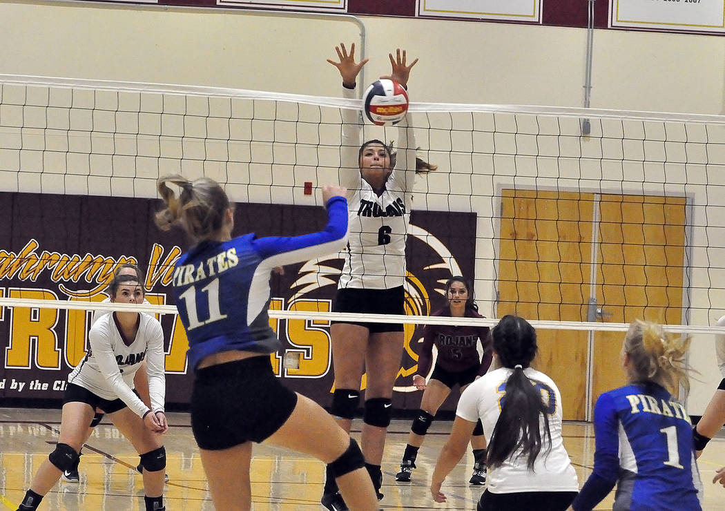 Horace Langford Jr./Pahrump Valley Times Sophomore Nicky Velazquez, shown going up for a block against Moapa Valley on Sept. 20 in Pahrump, made seven kills in Pahrump Valley's sweep of Western on ...