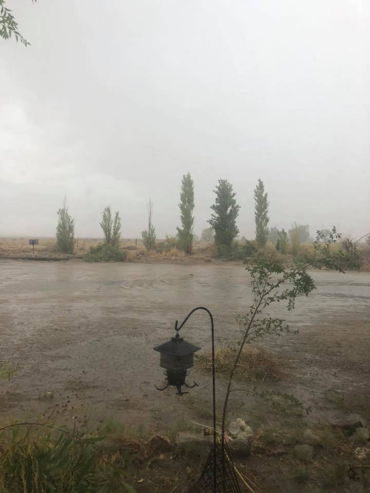 Ken Aldrich/Special to the Pahrump Valley Times Heavy rains hit along Highway 264, about milepost 21, on Oct. 2, 2018. The National Weather Service issued a flash flood warning for Esmeralda Count ...