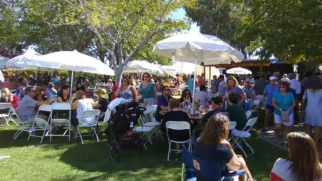 Selwyn Harris/Pahrump Valley Times Visitors who prefer not to take part in the stomping can sample a variety of wines, browse craft booths, and enjoy live music and food. Admission is $10, while p ...