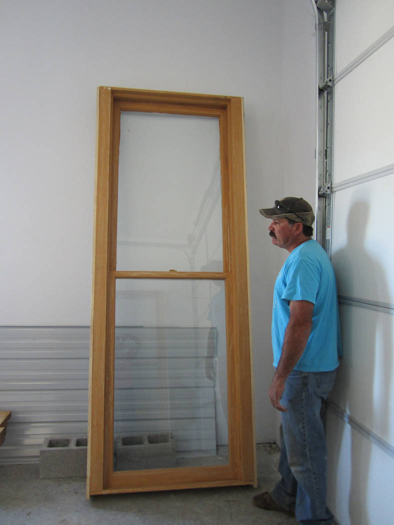 Special to the Pahrump Valley Times Period replica windows, including the one pictured, have installed at the Belmont Courthouse as part of the restoration project.