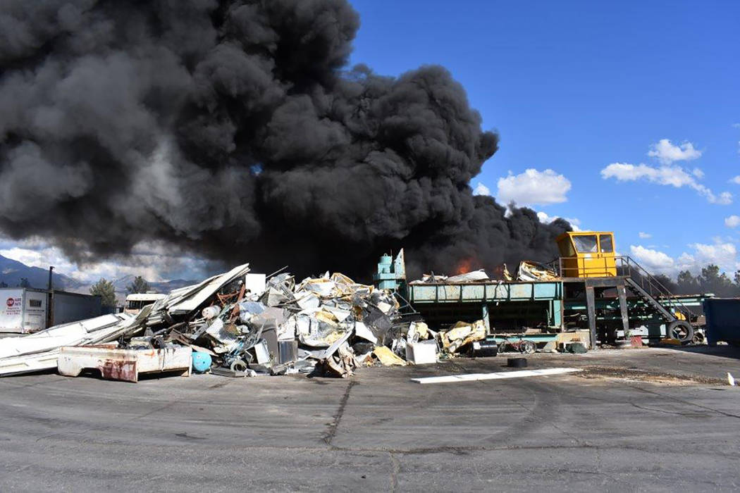 Special to the Pahrump Valley Times Tons of flammable materials fueled Wednesday afternoon's massive fire at the Pahrump Valley Recycling facility, which started just before 3 p.m. Though Pahrump ...