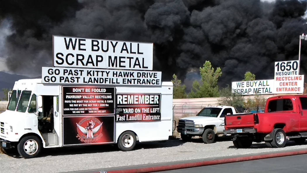 Selwyn Harris/Pahrump Valley Times There was no shortage of fuel, as the recycling facility routinely takes in all types of flammable materials each day. Nye County Hazmat crews were also dispatch ...