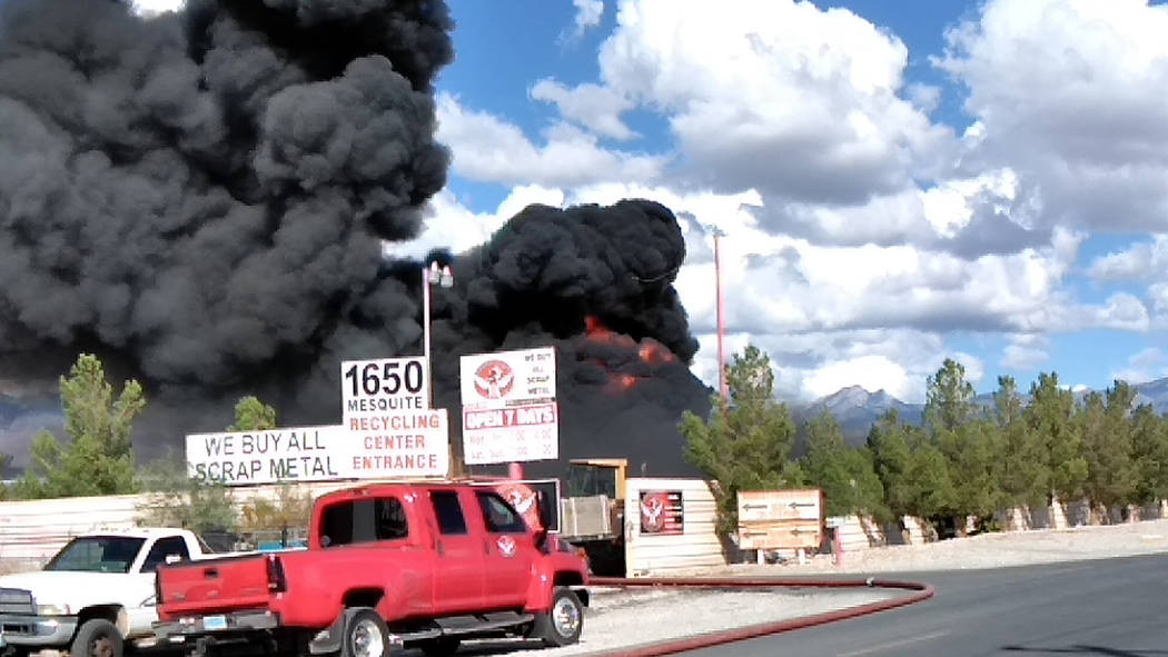 Selwyn Harris/Pahrump Valley Times It took Pahrump Valley Fire and Rescue crews more than an hour to get a structure and grounds fire at Pahrump Valley Recycling under control Wednesday afternoon. ...