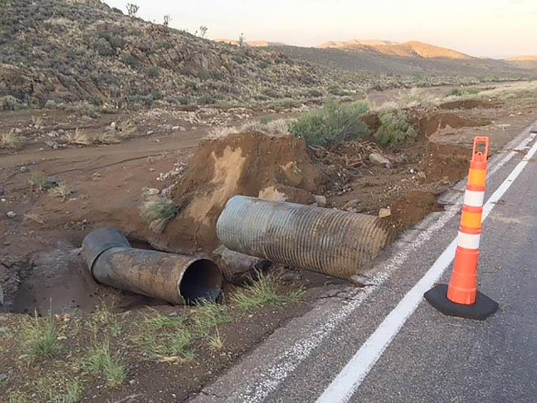 Nevada Department of Transportation The state last month awarded a $3.45 million emergency contract to Las Vegas Paving to repair the storm-damaged road.