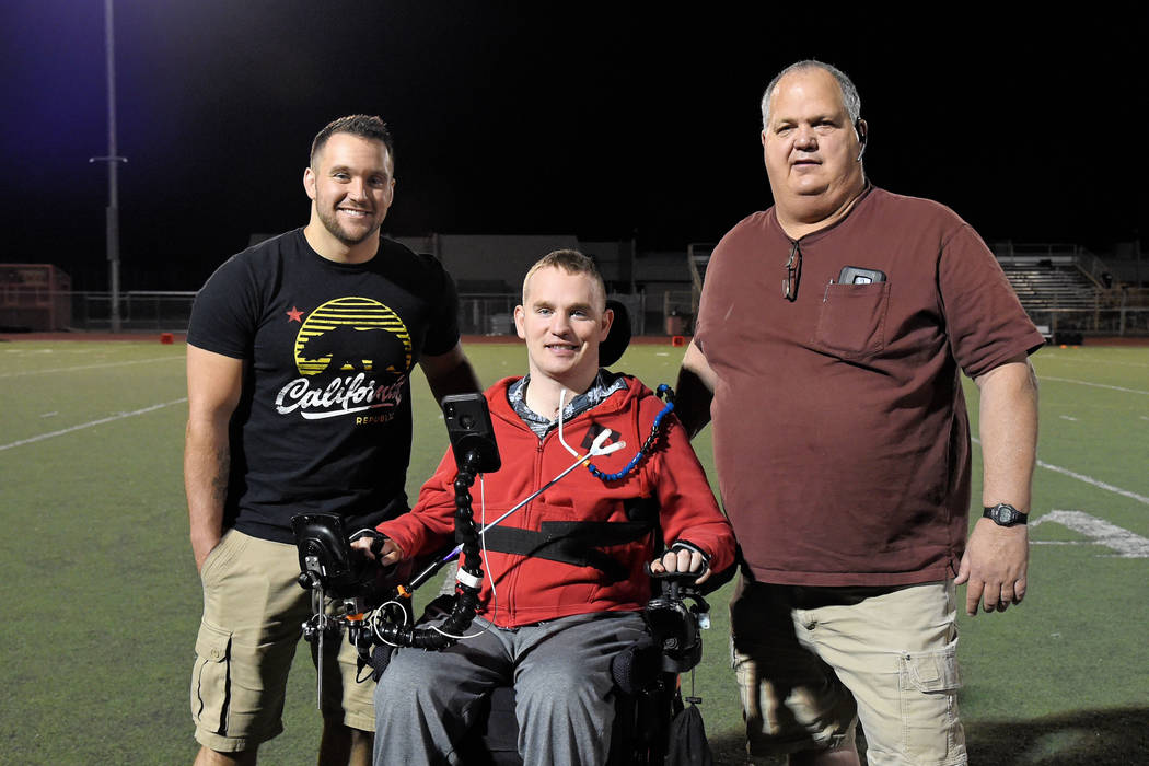 Peter Davis/Special to the Pahrump Valley Times From left, Ande Floyd, James Chapman and Marty Daffer were honored at halftime of Friday night's football game at Pahrump Valley High School as thre ...