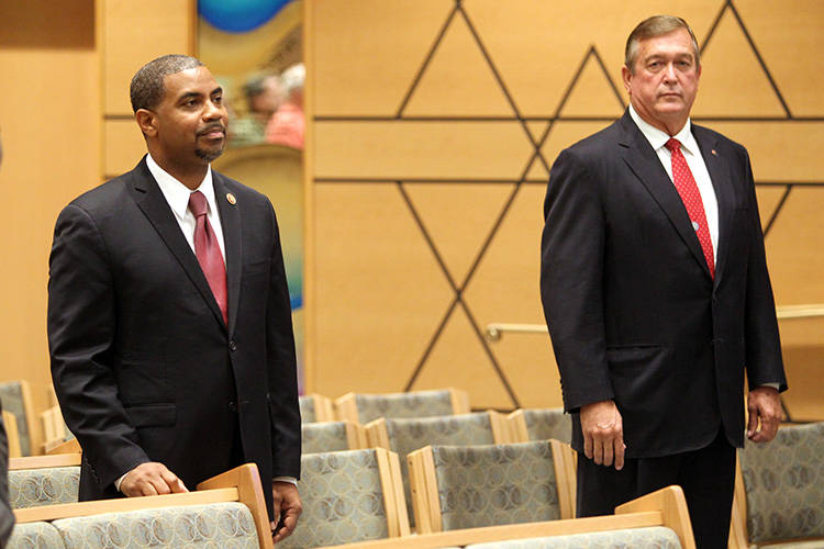 K.M. Cannon/Las Vegas Review-Journal This year's contest between Steven Horsford and Cresent Hardy is a rematch of one won by Hardy in 2014 when this photo was taken at a debate between the two.