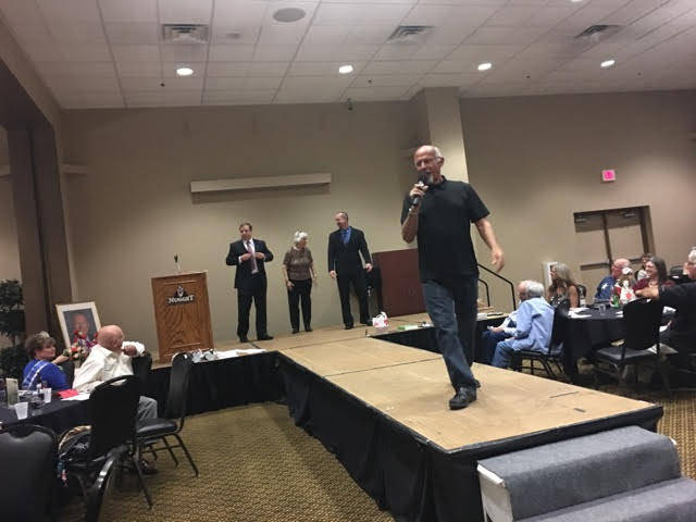 Special to the Pahrump Valley Times Auctioneer Ski Censke worked the crowd during the 2016 Nye County Celebrity Auction, strutting his stuff before a large crowd of locals out to support No to Abuse.