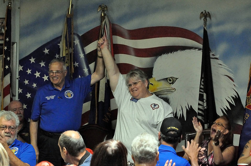 Horace Langford Jr./Pahrump Valley Times - Department of Nevada VFW Commander Jerry Peterson and Auxiliary President Linda Wright are shown celebrating their ascension to their new positions durin ...