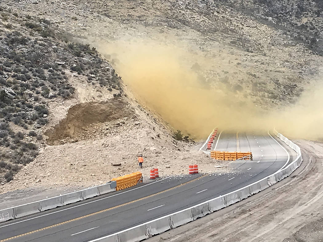 Nevada Department of Transportation The Oct. 5 blasting effort removed fractured bedrock outcroppings for a $58.6 million, six-mile-long highway widening project that began this summer, the Nevada ...