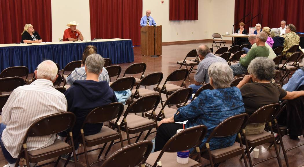 Richard Stephens/Special to the Pahrump Valley Times Assembly District 36 candidates Lesia Romanov and Dennis Hof answer questions from moderator Jerry Adcox.