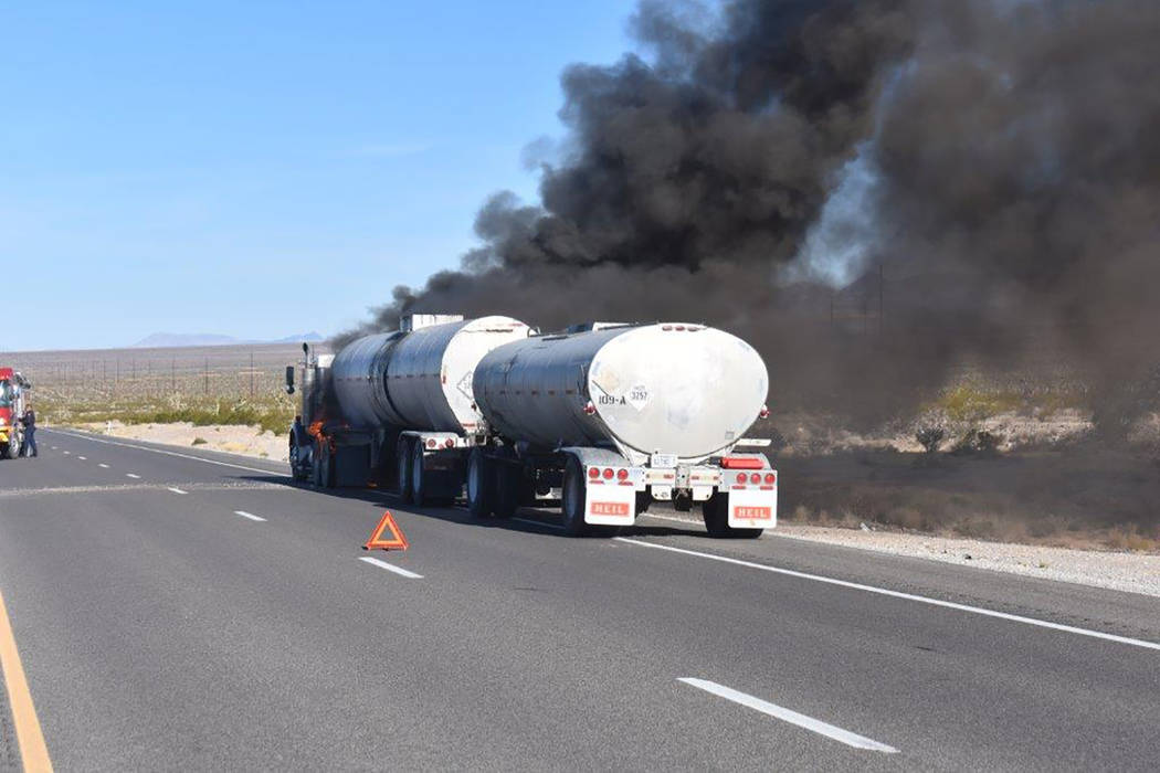 Special to the Pahrump Valley Times Traffic along Highway 160 was halted in both directions as Pahrump fire crews responded to a mutual aid tanker truck fire in Clark County just before 9 a.m. on ...