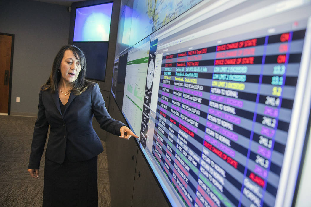 Special to the Pahrump Valley Times Angela Evans, newly named CEO of Valley Electric Association, in the control room at Valley Electric Association in 2017.