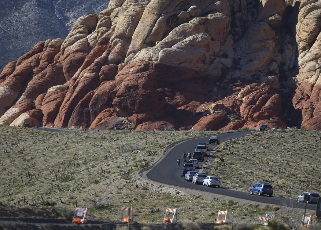 Motorists make their way along the 13-mile Scenic Drive at Red Rock Canyon National Conservation Area outside of Las Vegas on Wednesday, March 29, 2017. (Chase Stevens/Las Vegas Review-Journal) @c ...