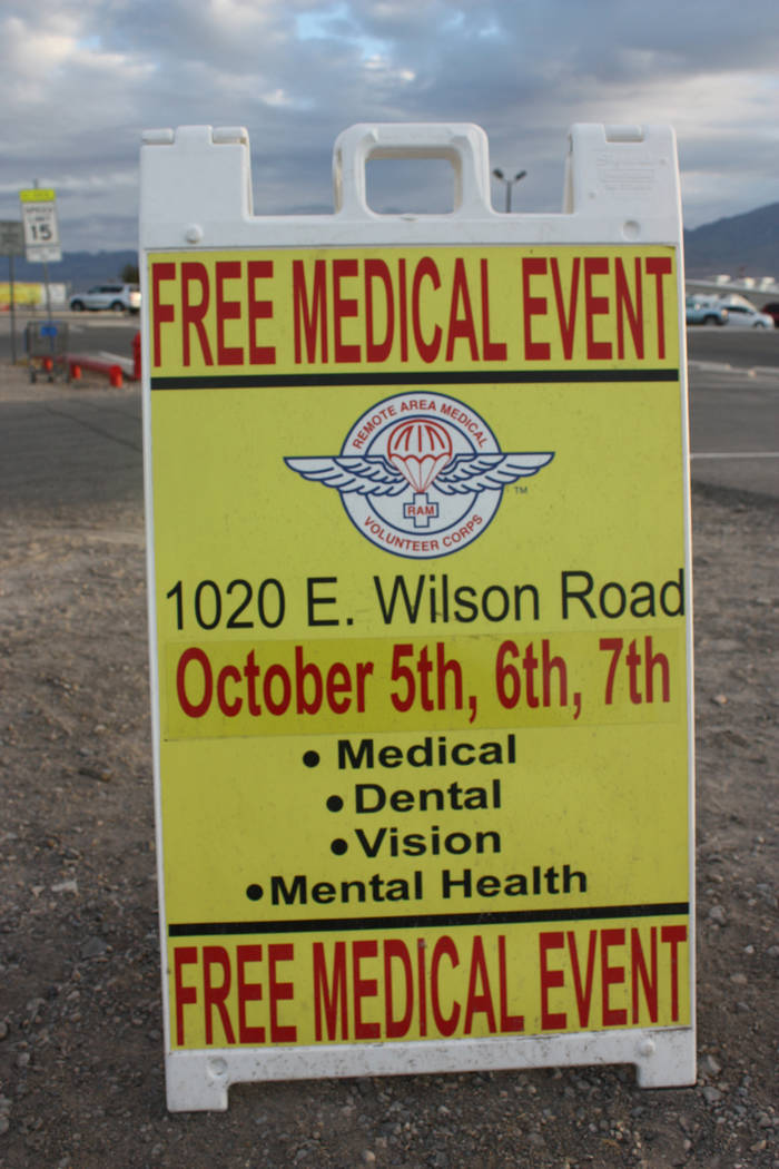 Robin Hebrock/Pahrump Valley Times A sign advertising the Remote Area Medical event at the NyE Communities Coalition helped draw residents to the clinic hosted this past weekend.