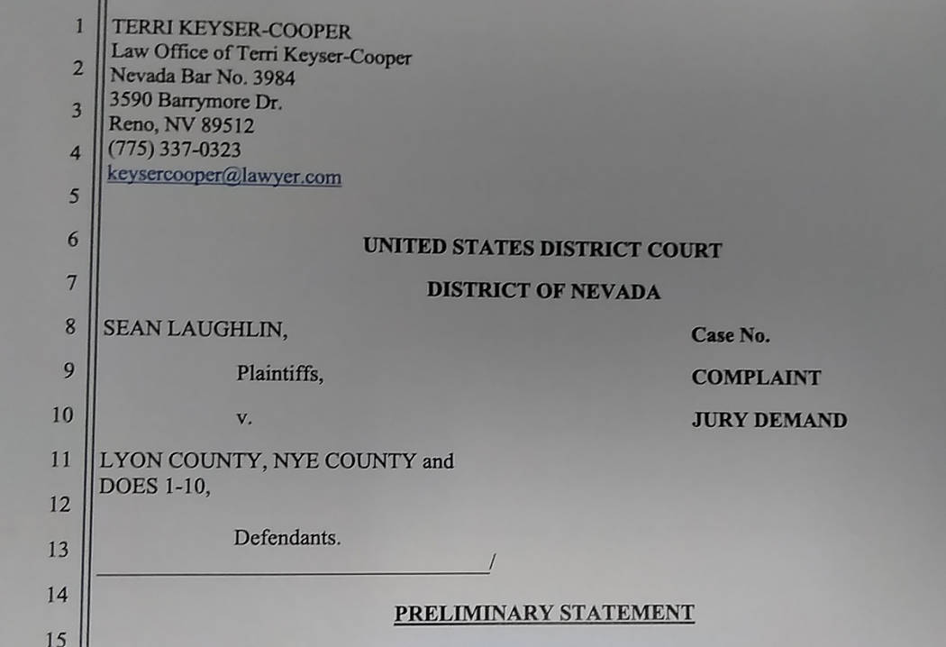 Selwyn Harris/Pahrump Valley Times Reno, Nevada Attorney Terri Keyser-Cooper filed the complaint on behalf of her client Sean Laughlin in the United States District Court, District of Nevada earli ...