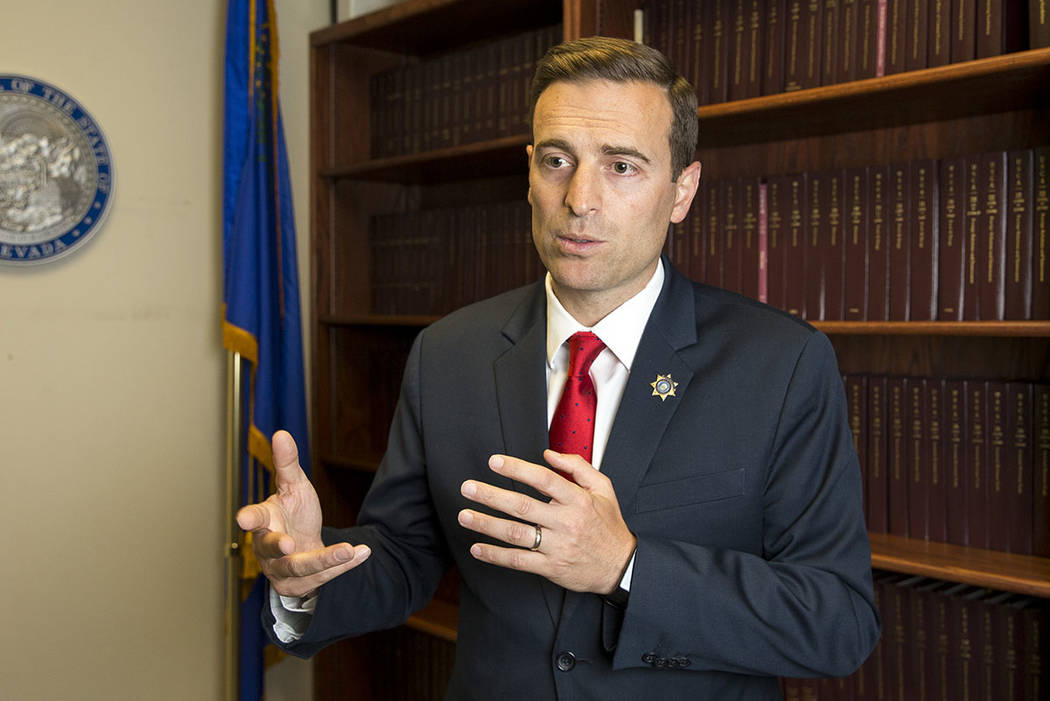 Richard Brian/Las Vegas Review-Journal Nevada Attorney General Adam Paul Laxalt during an interview at the Sawyer Building in Las Vegas over the summer.