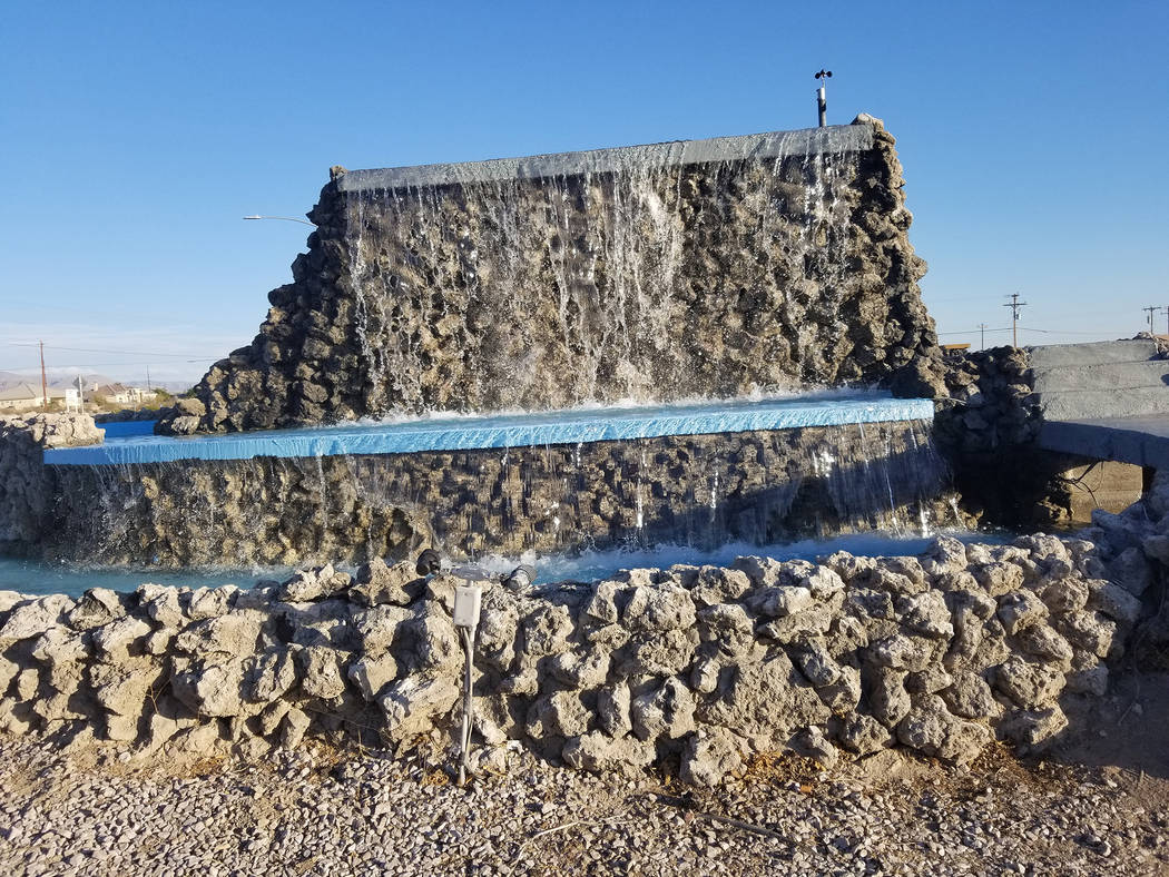 David Jacobs/Pahrump Valley Times The fountain on Calvada Boulevard and Highway 160 is flowing again after a long absence. According to Nye County, the fountain has been out of commission for near ...