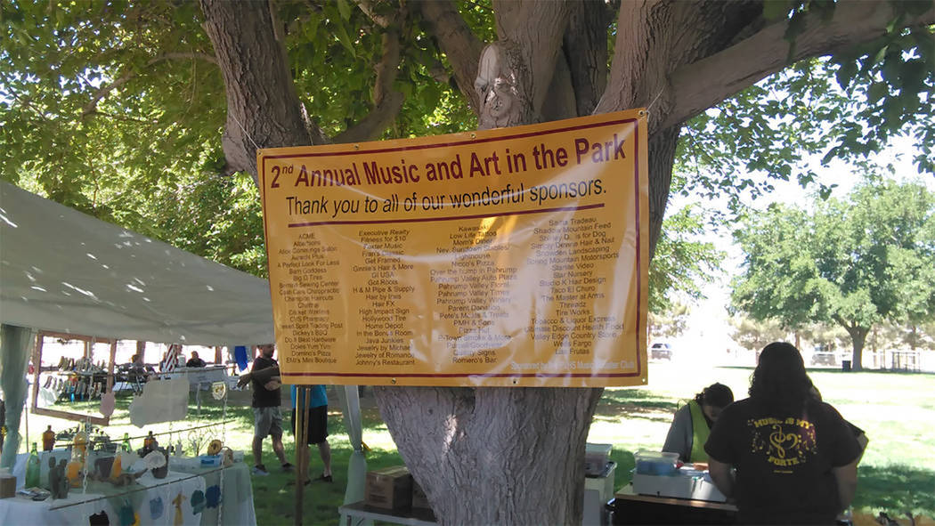 Selwyn Harris/Pahrump Valley Times The annual Music and Art in the Park returns to Petrack Park on Saturday Oct. 13, beginning at 9 a.m. The event which serves as a fundraiser, will feature live m ...