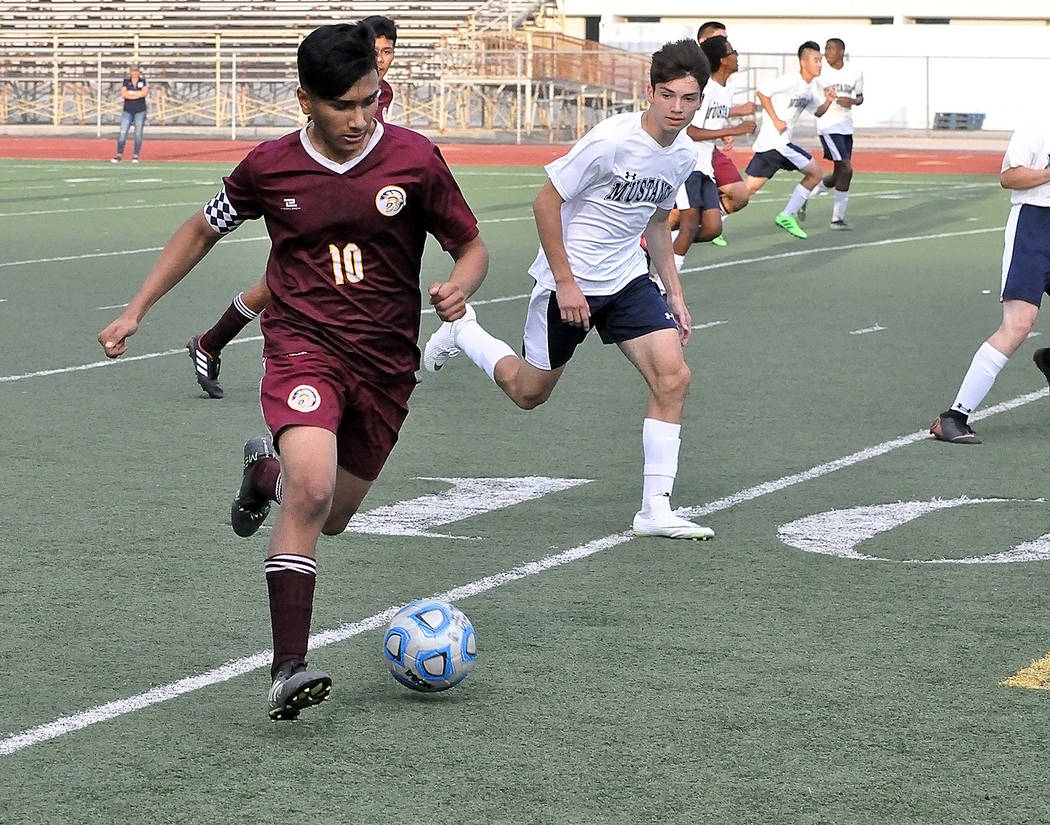 Horace Langford Jr./Pahrump Valley Times Senior forward Alvaro Garcia works the ball up the field during a 10-0 win over The Meadows on Oct. 3 in Pahrump.