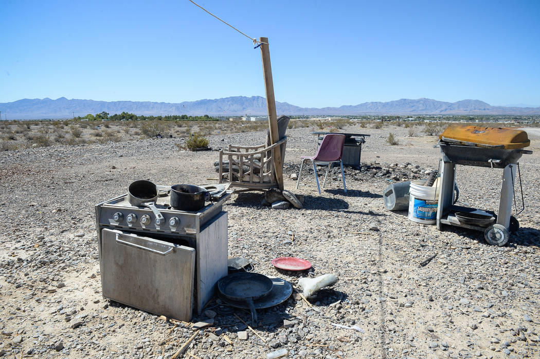 Larger items such as grills and stoves remain on the property behind the Nugget Hotel and Casino in Pahrump, Wednesday, Sept. 19, 2018. Caroline Brehman/Las Vegas Review-Journal