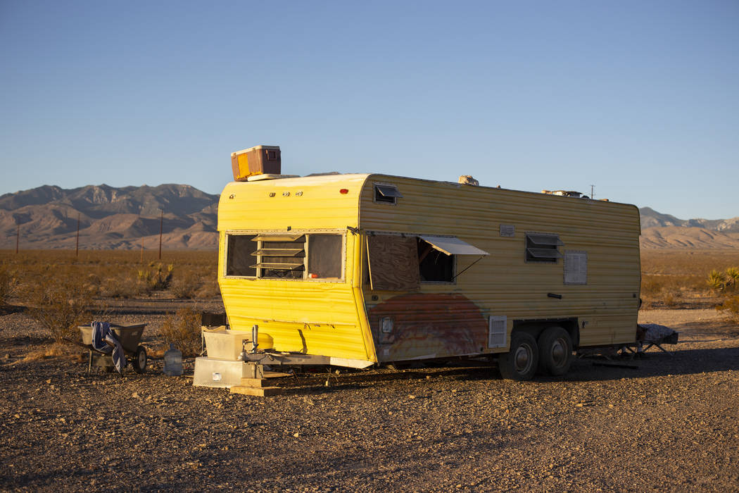 """Several of the homeless residents of """"The Hill"""" have moved their trailers and belongings temporarily to a lot west from the property behind the Nugget in Pahrump, Wednesday, Sept. 19, 20 ..."""