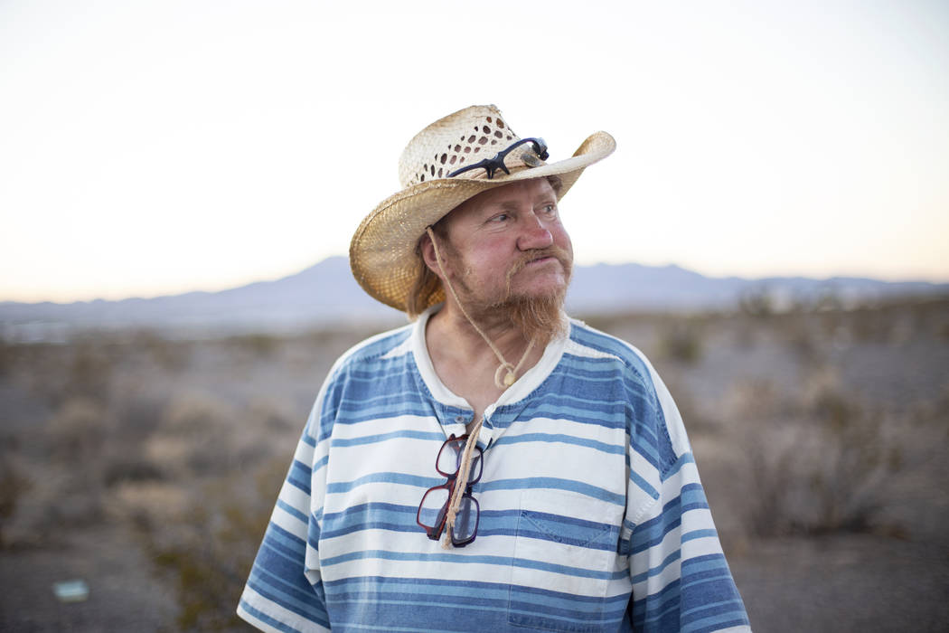 Homeless resident Timothy Persson, 60, poses for a portrait outside of his trailer in Pahrump, Wednesday, Sept. 19, 2018. Caroline Brehman/Las Vegas Review-Journal