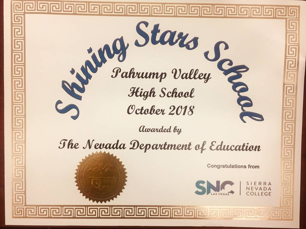 Special to the Pahrump Valley Times Pahrump Valley High School is one of several schools in southern Nye County to be recognized by the Nevada Department of Education as a Shining Stars School.