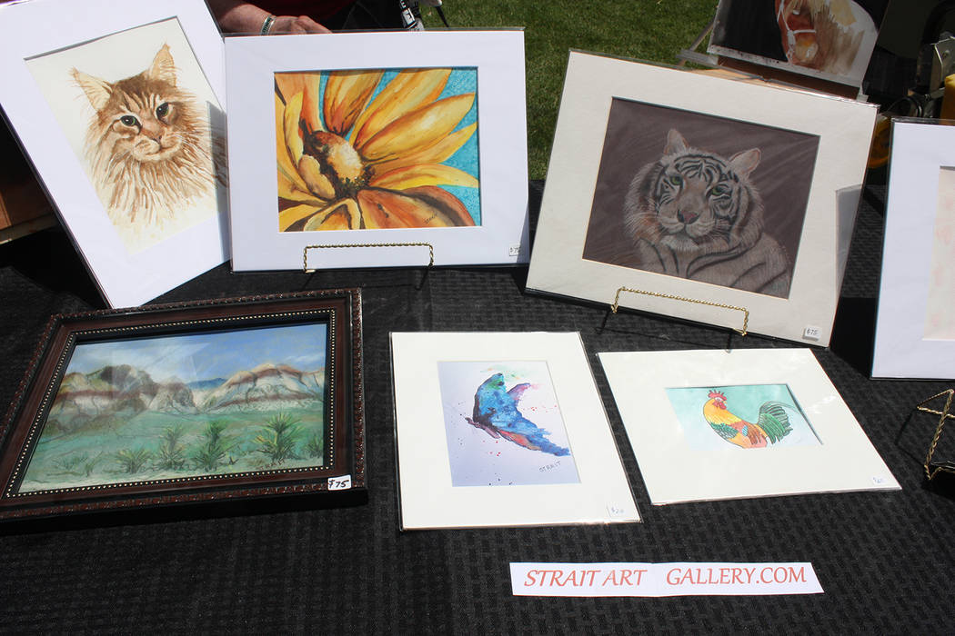 Robin Hebrock/Pahrump Valley Times Judy Strait of Strait Art Gallery had a large number of artworks on display during the Art and Sol event earlier this year in Pahrump.