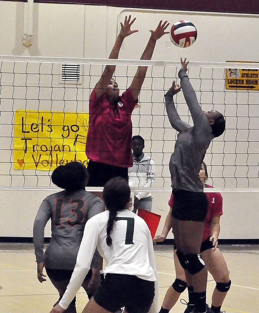 Horace Langford Jr./Pahrump Valley Times Sophomore Nicky Velazquez recorded 16 kills Wednesday night during Pahrump Valley's 3-2 loss to Mojave in Pahrump.