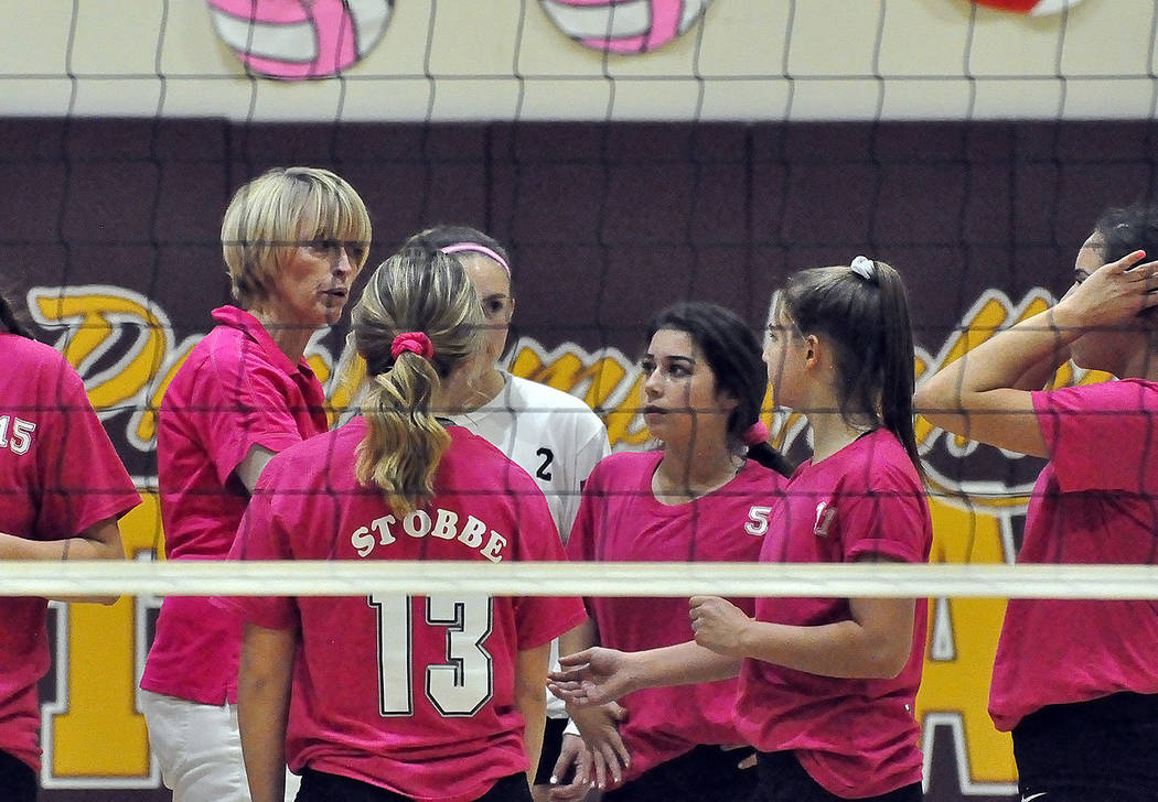 Horace Langford Jr./Pahrump Valley Times Pahrump Valley volleyball coach Jill Harris talks to her team during a timeout Wednesday against Mojave in Pahrump.