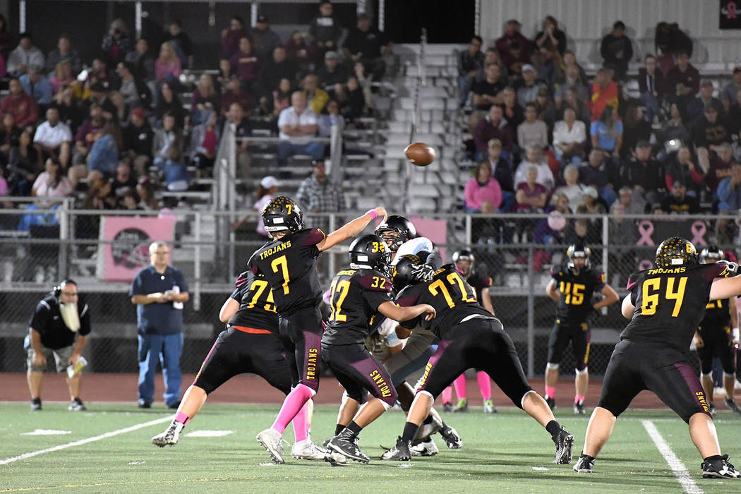 Peter Davis/Special to the Pahrump Valley Times Sophomore quarterback Dylan Wright unleashes a pass against Western on Friday during Pahrump Valley's 66-0 win. Wright passed for 114 yards and two ...