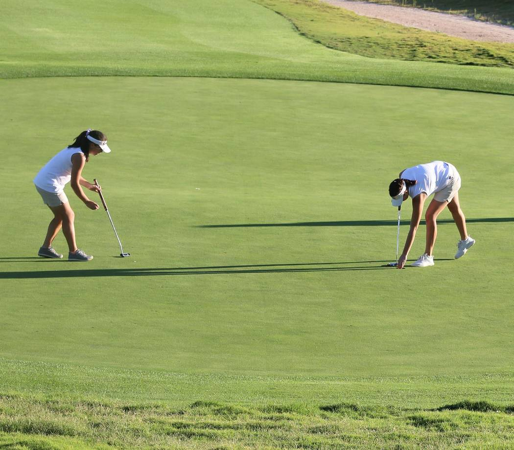 Tom Rysinski/Pahrump Valley Times Breanne Nygaard, left, finished second and Makelea Petrie finished fourth last week at the Class 3A Southern Region Tournament in Mesquite as Pahrump Valley edged ...