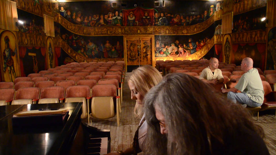 Special to the Pahrump Valley Times The cast inside the Amargosa Opera House: Gunter Nezhoda and Victoria Viveiros in the foreground; Ernell Manabat (left) and Stu Chaiken in the background.