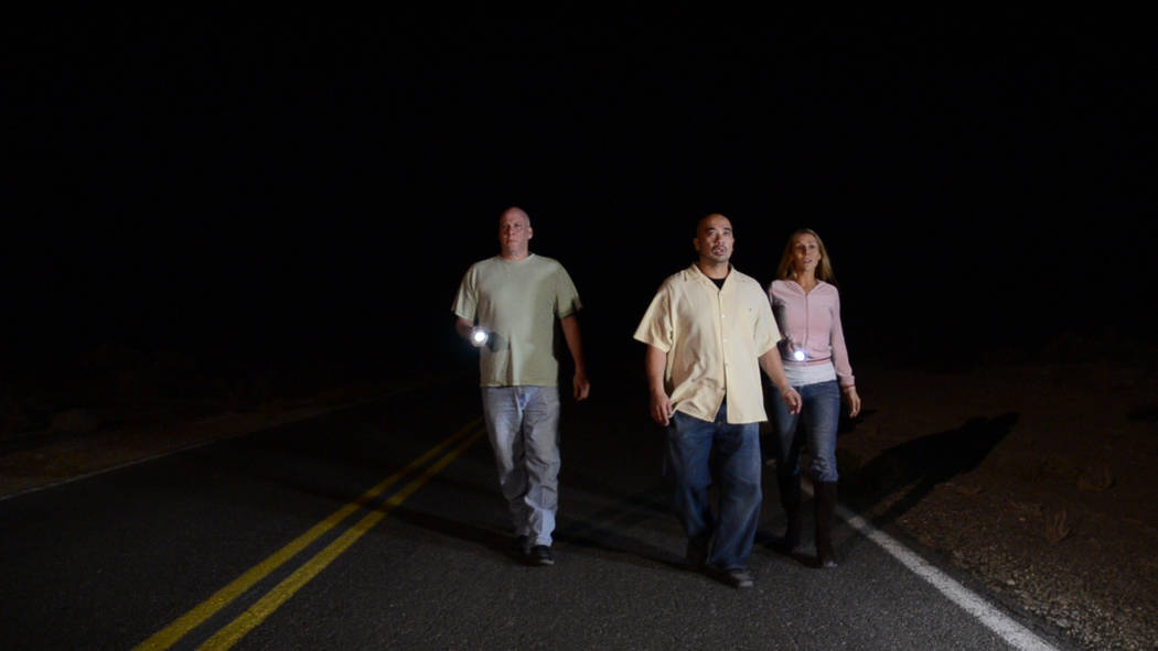 Special to the Pahrump Valley Times Some cast members running down the road near Tecopa: left to right, are Stu Chaiken, Ernell Manabat and Victoria Viveiros.