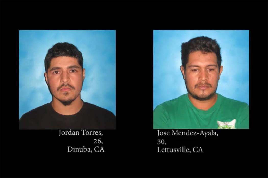 Jordan Torres, 26, and 30-year-old Jose Mendez-Ayala (Nye County Sheriff's Office/Facebook)