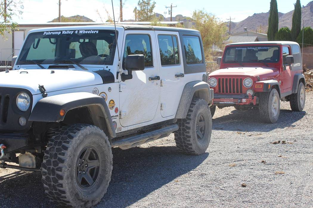 Tom Rysinski/Pahrump Valley Times Two vehicles driven by Pahrump Valley 4 Wheelers members after the fifth annual Bullfrog Historical Mining District Poker Run on Saturday in Beatty.